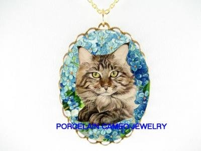 MAINE COON CAT FORGET ME NOT PORCELAIN CAMEO NECKLACE