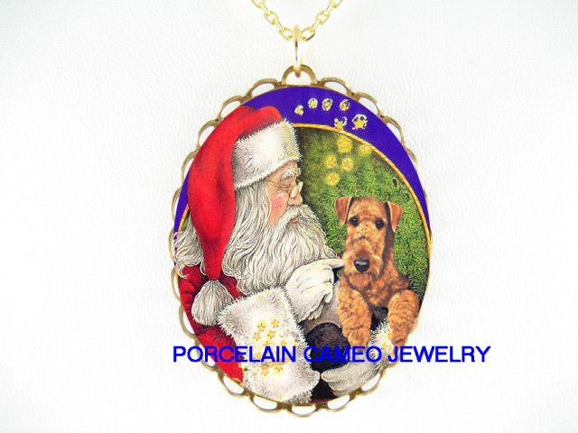 SANTA TICKLING AIREDALE TERRIER DOG PORCELAIN NECKLACE