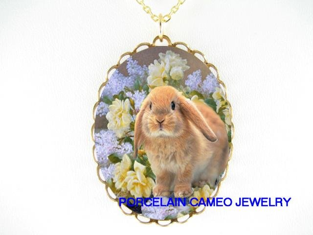 RABBIT BUNNY WITH LILACS ROSE PORCELAIN CAMEO NECKLACE