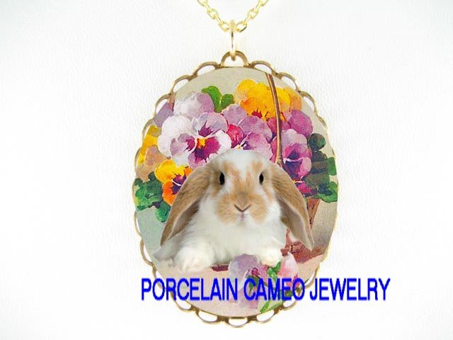 RABBIT BUNNY WITH PANSY FLOWER PORCELAIN CAMEO NECKLACE