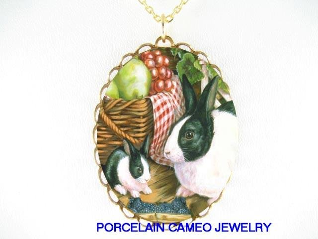 RABBIT BUNNY FAMILY WITH BERRY PORCELAIN CAMEO NECKLACE