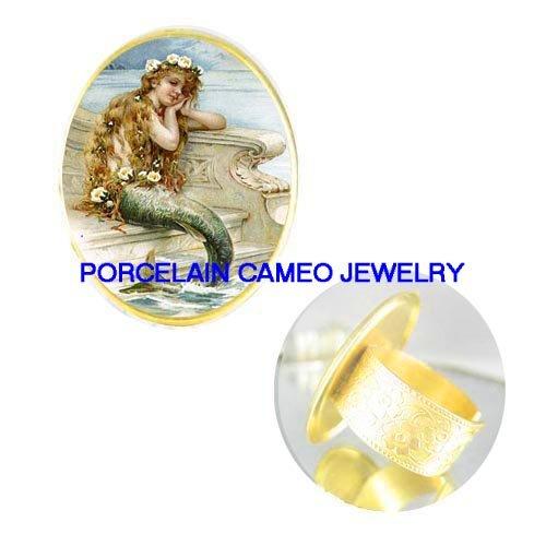 vintage VICTORIAN MERMAID PORCELAIN CAMEO RING 5-9