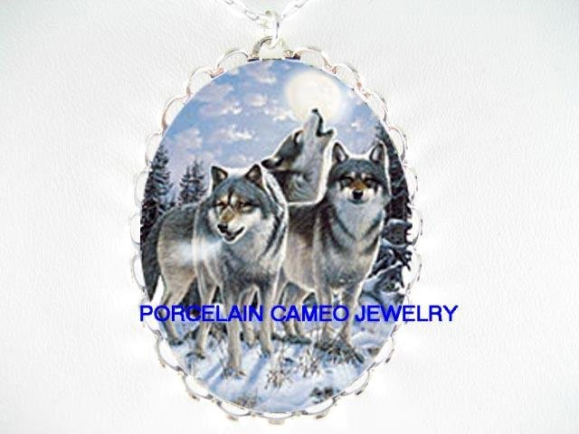 WOLF COLLAGE HOWLING MOON SNOW PORCELAIN NECKLACE