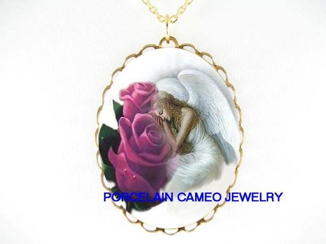 SLEEPING ANGEL PURPLE ROSE PORCELAIN CAMEO NECKLACE
