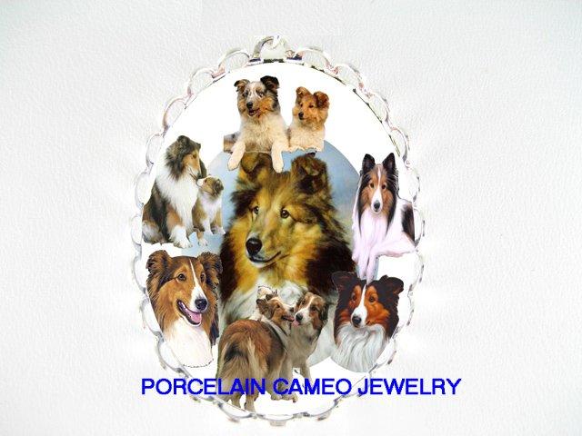 2 KISSING SHELTIE DOG COLLAGE PORCELAIN CAMEO PIN PENDANT