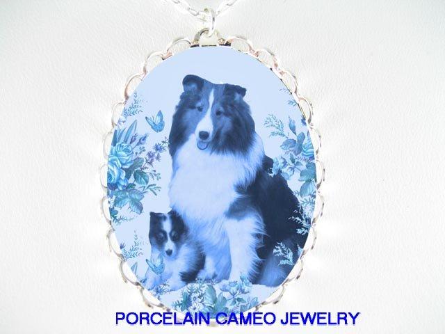 DANISH BLUE SHELTIE DOG MOM PUPPY ROSE CAMEO NECKLACE