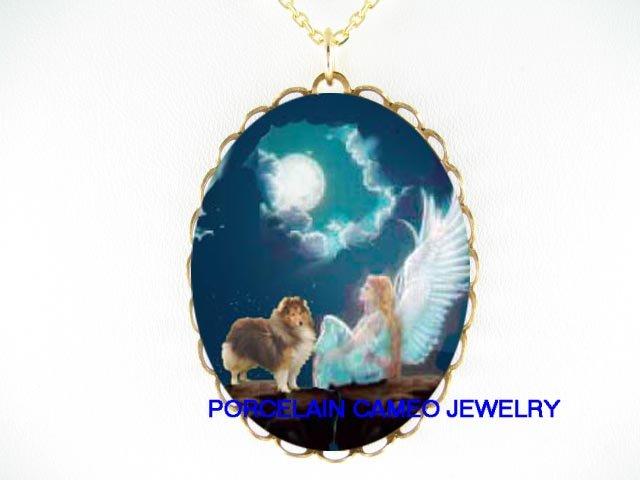ANGEL SHELTIE SHEEPDOG MOON PORCELAIN CAMEO NECKLACE