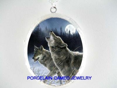 2 WOLF HOWLING MOON PORCELAIN CAMEO LOCKET NECKLACE