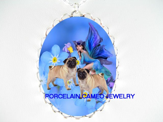 2 PUG DOG WITH FORGET ME NOT FAIRY BUTTERFLY* CAMEO PORCELAIN NECKLACE
