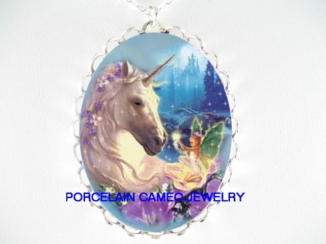 FLORAL UNICORN HORSE W/ FAIRY CAMEO PORCELAIN NECKLACE