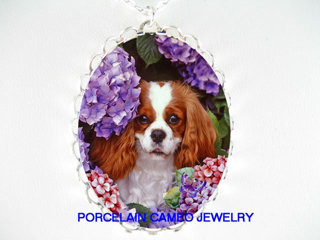 CAVALIER KING CHARLES SPANIEL DOG HYDRANGEA BUTTERFLY NECKLACE