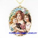 3 VICTORIAN GRACES SISTER HOLDING YORKSHIRE TERRIER DOG* CAMEO PORCELAIN NECKLACE