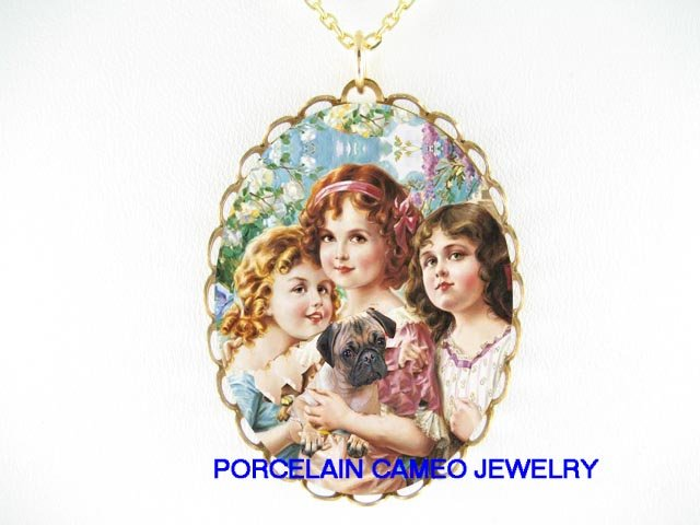 3 VICTORIAN GRACES SISTERS HOLDING PUG DOG NECKLACE