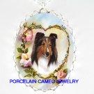 SHELTIE SHEEPDOG DOG ROSE HEART PORCELAIN CAMEO NECKLAC