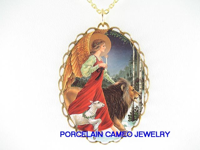 ANGEL LION AND LAMB CAMEO PORCELAIN NECKLACE