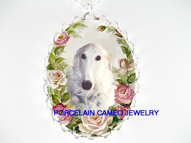 BORZOI RUSSIAN WOLFHOUND DOG PINK ROSE CAMEO NECKLACE