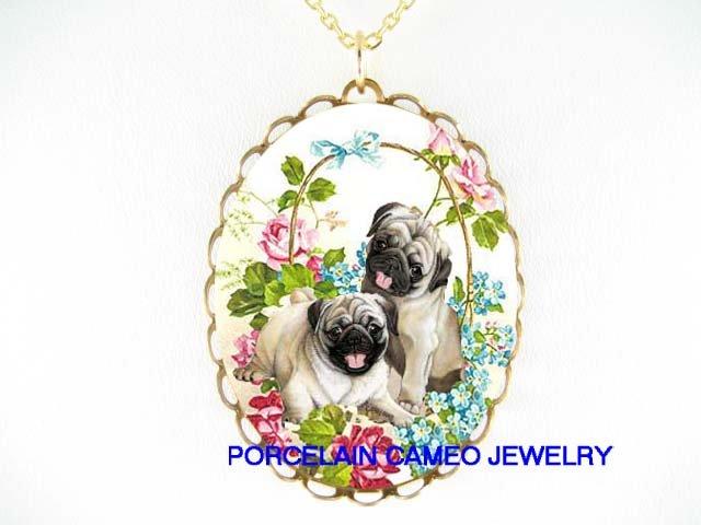 2 PUG DOG ROSE FORGET ME NOT CAMEO PORCELAIN NECKLACE