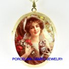 VICTORIAN POPPY LADY WITH KITTY CAT PORCELAIN CAMEO LOCKE NECKLACE