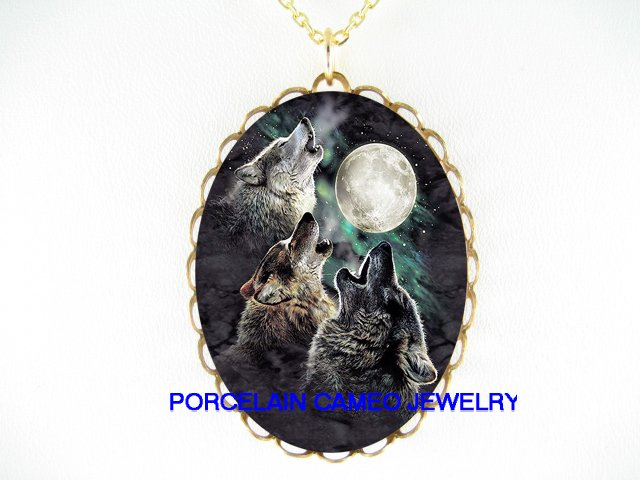 3 HOWLING WOLF MOON* CAMEO PORCELAIN NECKLACE
