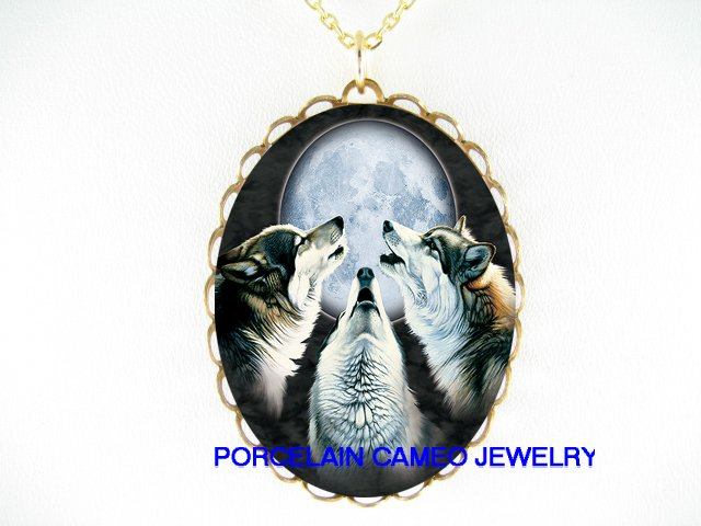 HOWLING WOLF WOLVES MOON CAMEO PORCELAIN NECKLACE