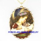 ANGEL CUDDLING KITTY CAT* CAMEO PORCELAIN NECKLACE