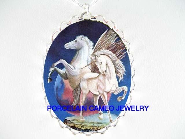 2 WHITE UNICORN PEGASUS HORSE CAMEO PORCELAIN NECKLACE