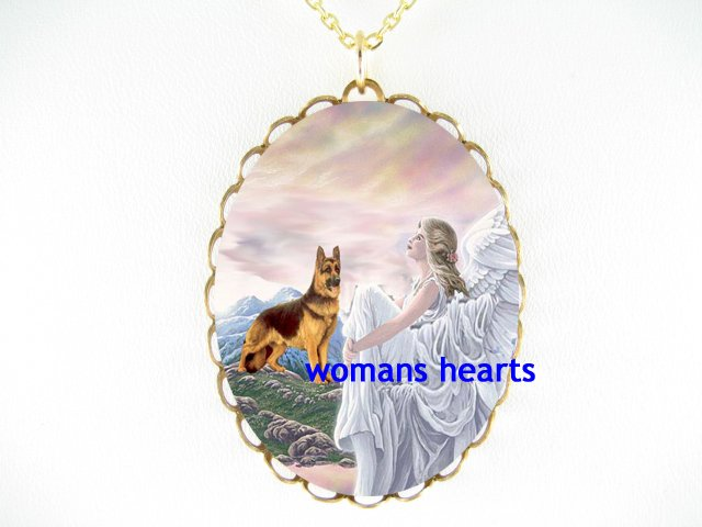 GERMAN SHEPHERD DOG WITH ANGEL PORCELAIN CAMEO NECKLACE