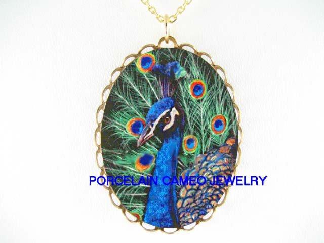 COLORFUL BLUE PEACOCK BIRD CAMEO PORCELAIN NECKLACE