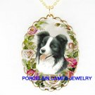 BORDER COLLIE DOG WITH ROSE PORCELAIN CAMEO NECKLACE