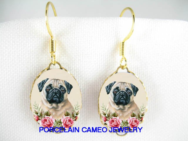 SWEET PUG WITH ROSE  CAMEO PORCELAIN EARRINGS