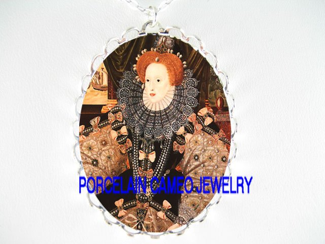 JEWELED QUEEN ELIZABETH PORCELAIN CAMEO NECKLACE