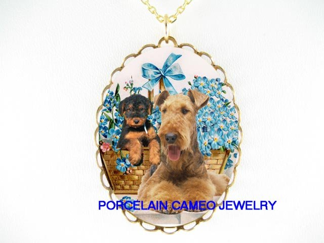 AIREDALE TERRIER DOG MOM PUPPY FORGET ME NOT NECKLACE
