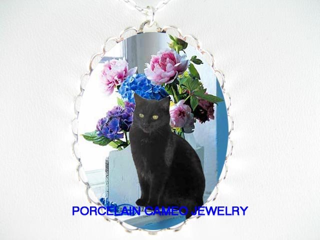 BLACK CAT WINDOW HYDRANGEA ROSE CAMEO PORCELAIN NECKLACE