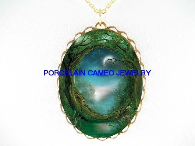 TREE FAIRY MOON* CAMEO PORCELAIN NECKLACE