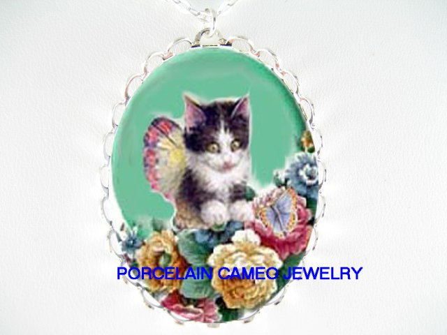 BLACK WHITE KITTY CAT BUTTERFLY FAIRY ROSE* CAMEO PORCELAIN NECKLACE