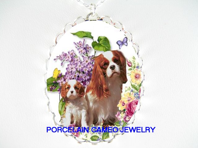 CAVALIER KING CHARLES SPANIEL DOG BUTTERFLY VIOLET NECKLACE