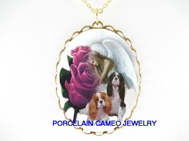 2 CAVALIER KING CHARLES SPANIEL DOG ROSE ANGEL NECKLACE