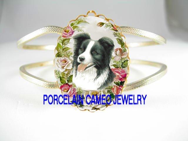 BORDER COLLIE DOG WITH ROSE CAMEO PORCELAIN VINTAGE BRACELET