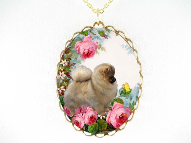POMERANIAN DOG WITH ROSE AND BUTTERFLY* CAMEO PORCELAIN NECKLACE