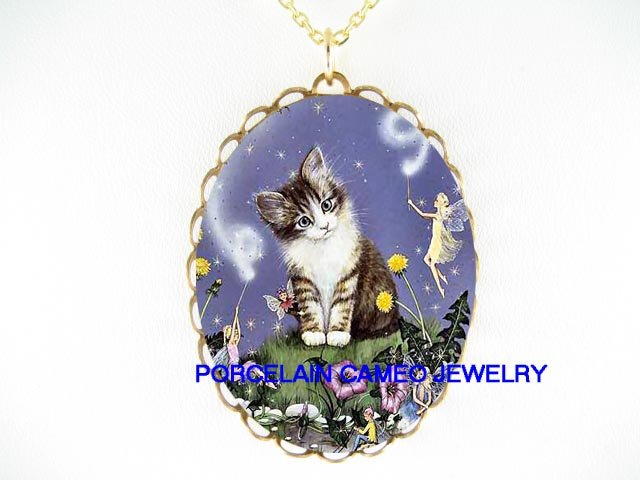 BLACK WHITE KITTY CAT FAIRY CAMEO PORCELAIN NECKLACE