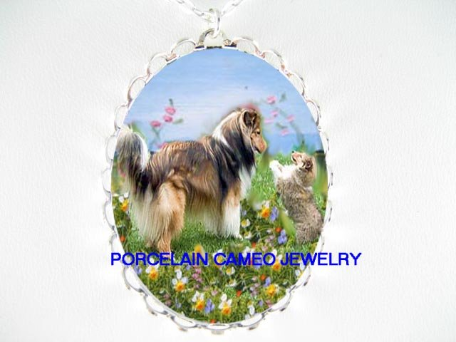 SHELTIE DOG MOM PUPPY HAPPY PLAYTIME PORCELAIN NECKLACE