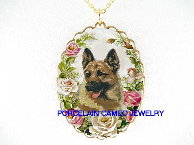 GERMAN SHEPHERD DOG PINK ROSE CAMEO PORCELAIN NECKLACE