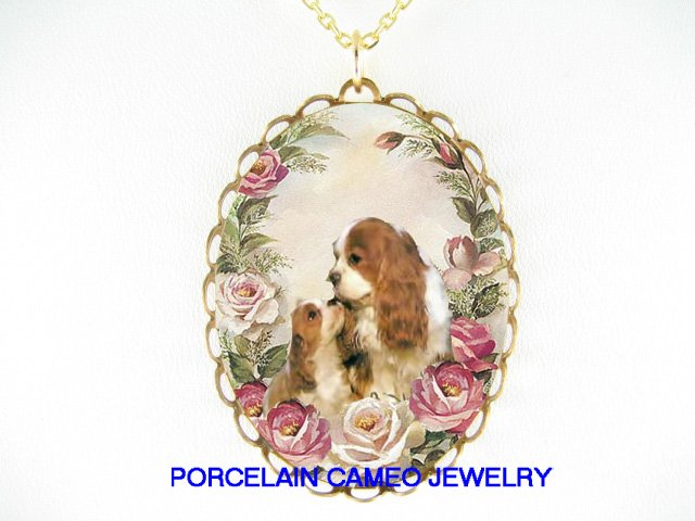 2 CAVALIER KING CHARLES SPANIEL MOM KISSING PUPPY ROSE PORCELAIN NECKLACE