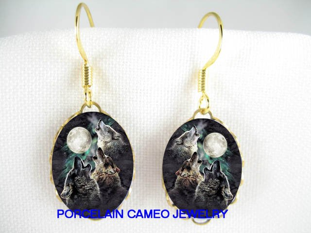 3 HOWLING WOLF WOLVES MOON CAMEO PORCELAIN EARRINGS