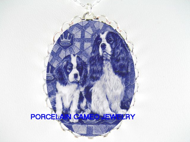 BLUE CAVALIER KING CHARLES SPANIEL MOM PUPPY NECKLACE