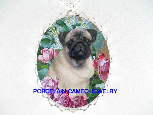 PUG DOG VICTORIAN ROSE LILACS PORCELAIN CAMEO NECKLACE