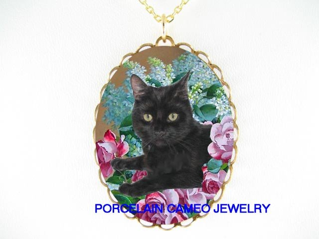 BLACK CAT WITH ROSE LILACS PORCELAIN CAMEO NECKLACE