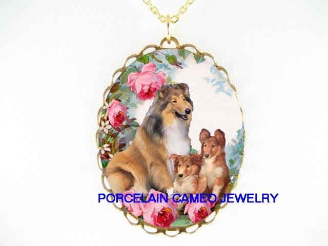 3 COLLIE DOG MOM PUPPY ROSE CAMEO PORCELAIN NECKLACE