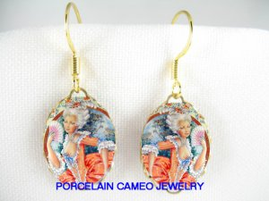FRENCH QUEEN MARIE ANTOINETTE PORCELAIN CAMEO EARRINGS