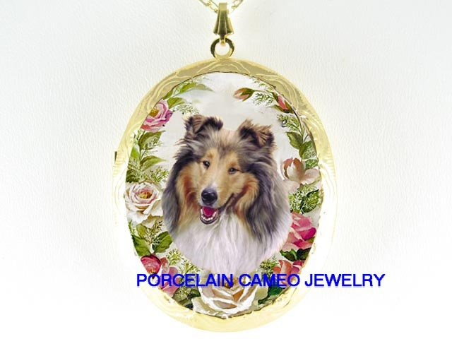 ROUGH COLLIE DOG ROSE CAMEO PORCELAIN LOCKET NECKLACE